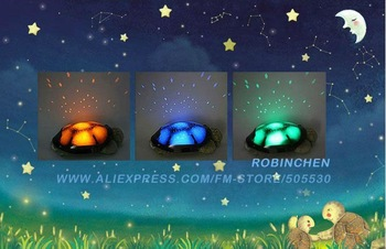 Holiday gift Turtle Night Lights for Children Turtle Music Lights Mini Projector 4 Songs Star Projector Lamp Freeshipping