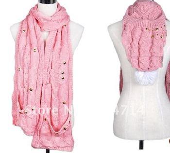 2100 hat scarf glove 3pcs set/women winter scarf/ladies knitted scarves.bandana.collars,pashmina,shawl.wrap.vintage scarf/6olor