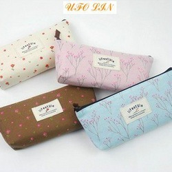 Free shipping/sweet garden flowers Pencil Case/canvas pencil bag/cotton bag/pouch/cosmetic bag/good gift/wholesale(China (Mainland))