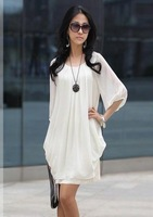 Free shipping,New, Imitate Silk, large size dress, large size women, Korean, chiffon, dress