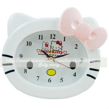 Wholesale NEW cute hello kitty Battery-powered alarm clock Lovely Alarm Clocks  30pcs/lot by EMS free shipping 20111129