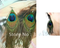 12pcs/lot Peacock feather hoop earring jewellery silver plated free-shipping
