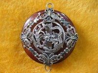 Old Tibet Silver Jade Dragon Pendant