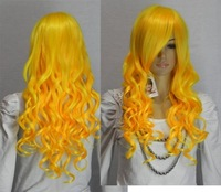 Free Shipping >>>New YELLOW LONG CURLY COSPLAY FULL WIG