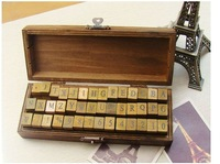 [4sets]Antique Alphabet Wooden Box Stamp Set Ver.2 Letters + Numbers Stamp Collection 42pcs,Freeshipping