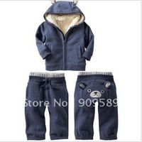 Free shipping !2011 high quality romper children's suite fashion bear pattern Thickened suit