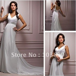 French Style A-line V-neck Empire Beaded Sleeveless Sweep Length White Elastic Satin Wedding Dresses for Pregnant Women(China (Mainland))