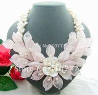 3Strds White Pearl&Rose Quartz Flower Necklace