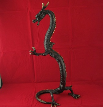 Chinese Style culture bronze Carving beautiful big dragon beast statue