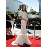 Free shipping elegant more color mermaid short sleeve Celebrity Dress long with court train red carpet dress 2014