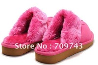 Free shipping ladies woolskin slippers,high quality sheepskin slipper, sweet classic warm slippers.guarantee 100% leather
