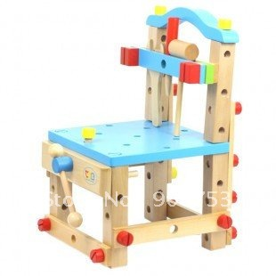 Free shipping Wooden blocks/multi-function chair/work chair/children educational nut toys//imported jose wood(China (Mainland))