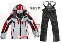 on sale  men's Ski jacket & Pants one suit orange jacket +Pants, men's proffessional ski suit,ski jacket for men