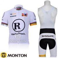 free shipping! new 2011 RadioShack wihte short sleeve cycling jersey and bib shorts ,bike jersey,short cycling wear summer