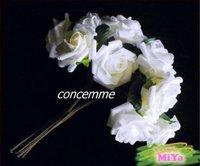 48 STEMS WEDDING BOUQUET FOAM ROSE BUNCH White*LARGE