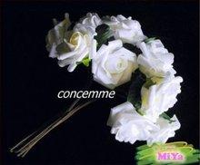 48 STEMS WEDDING BOUQUET FOAM ROSE BUNCH White*LARGE(China (Mainland))