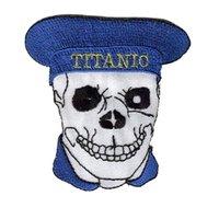 "2"", Emb. more than 80%, skull patch, merrow or flat border, iron on back,100pcs/bag, MOQ50pcs, accept small order,free shipping"