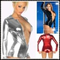Free shipping Sexy bodysuits patent leather Tight coating Latex  Long sleeve zipper sexy underwear