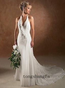 Sexy Halter Chiffon Wedding Evening Prom Gowns Dress