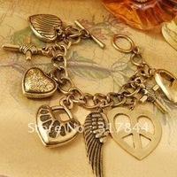 retro peace wing peach heart pendant bracelet