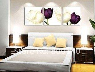 oil painting canvas modern white purple flower decoration