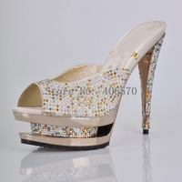 Free shipping BIG PROMOTION sexy double waterproof dress shoes,high heel sandals Crystal round Toe pump,sexy lady sandals