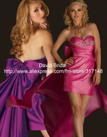 Lovely Sheath Sweetheart Neckline Bow Beading Satin Purple/Fuchsia Mini YE168 Evening Gowns