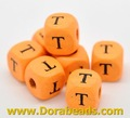 "Orange Alphabet/ Letter ""E"" Cube Wood Beads 10x10mm(B15025x20)"