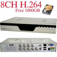 Freeshipping Standalone H.264 8CH Home Surveillance Video Recorder Security CCTV DVR System With 1TB HDD