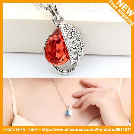 Crystal jewelry.Leaf pendant.Fashion jewelry.Crystal necklaces.Blue,red,purple,white,gold,navy..Free shipping.10 pcs/lot.Now(China (Mainland))