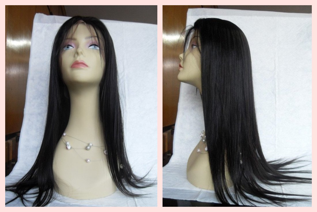 4*4 inches silk top high quality virgin human hand made hair full lace wig with baby hair(China (Mainland))