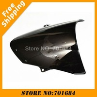 New Black Motorcycle Windshield Trim Shadow For Kawasaki ZX-6R 09-10 Windscreen Free Shipping [CK515]