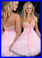 Free Shipping Wholesale Strapless Backless Organza Beading Affordable A line Mini Sexy Homecoming Dresses Dress 2012