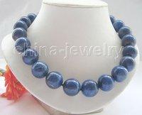 "AA+ 18"" 100% natural 18mm round lapis lazuli necklace"