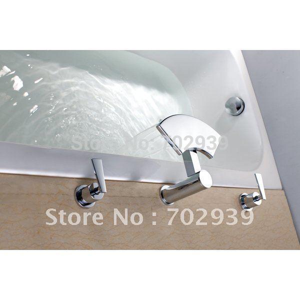 Free Shipping 3 Piece Widespread Roman Waterfall Tub Faucet Bathtub 3 Pcs Faucet In Bath