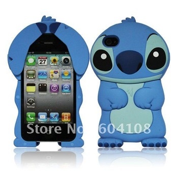 New Arrival Tridimensional Stitch Silicone Soft Case Back Cover For iPhone4 4G 4S,Free Shipping