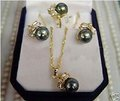 CHARMING Black Pearl Earring Ring & Necklace Set 8#