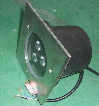 3*1W high power led underground light,DC12V input,IP68,size:120*120mm;open hole:70mm