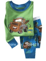 Free shipping 6sets/lot Cheap Children Clothing Sets ,boys cotton pajamas with printed cartoon car,kids sleepwear sy2214