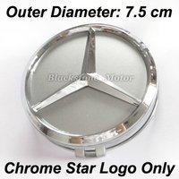 4 Pcs 75mm Diameter Wheel Center Hub Cap Chrome Mercedes Benz Star Logo with Light Silver Base C E G S CL ML SL SLK CLK Class