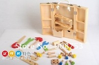Free shipping/Blocks toys/block house/educational toys/wooden multifunctional mobile toolbox/play