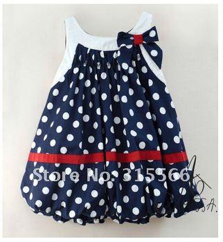 Free shipping AMISSA (5pcs/1lot)children/baby dress girl's  lantern dress chiffon bow  polkadot dress summer 80-90-100