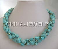 "Beautiful 20""12mm natural turquoise &gold bead necklace"