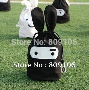 Wholesale ,Free shipping,   20pcs/lot ,Ninja rabbit travel pouch, black and white,Storage bags,cartoon bags,Pouch