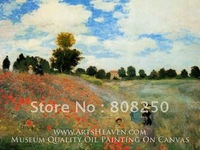 Free Shipping ,Museum Quality , Art Oil Paintings Reproductions On Canvas,Field of Poppies, Argenteuil