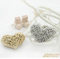 Peach heart grow flowers carve restoring ancient ways sweater chain necklace 50pcs/lot  free shipping