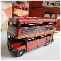 Crown Retro Manual Iron sheet Bus Cars London double-decker Bus Model Car toys