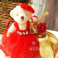 HOT PRODUCTS Free shipping to All Country ! 100pcs/lot Cloth wombat with rose wedding bags wedding box gift packing THJ10