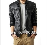 hot sale  new Qiu Dongkuan pu/cotton quality men's casual leather leather plus warm Leather jacket/ Free shipping