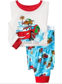 Baby Pajamas  boy white  car  pajamas cotton wear baby sleepwear  baby  suit  6set/lot  long  sleeve  suit  8899